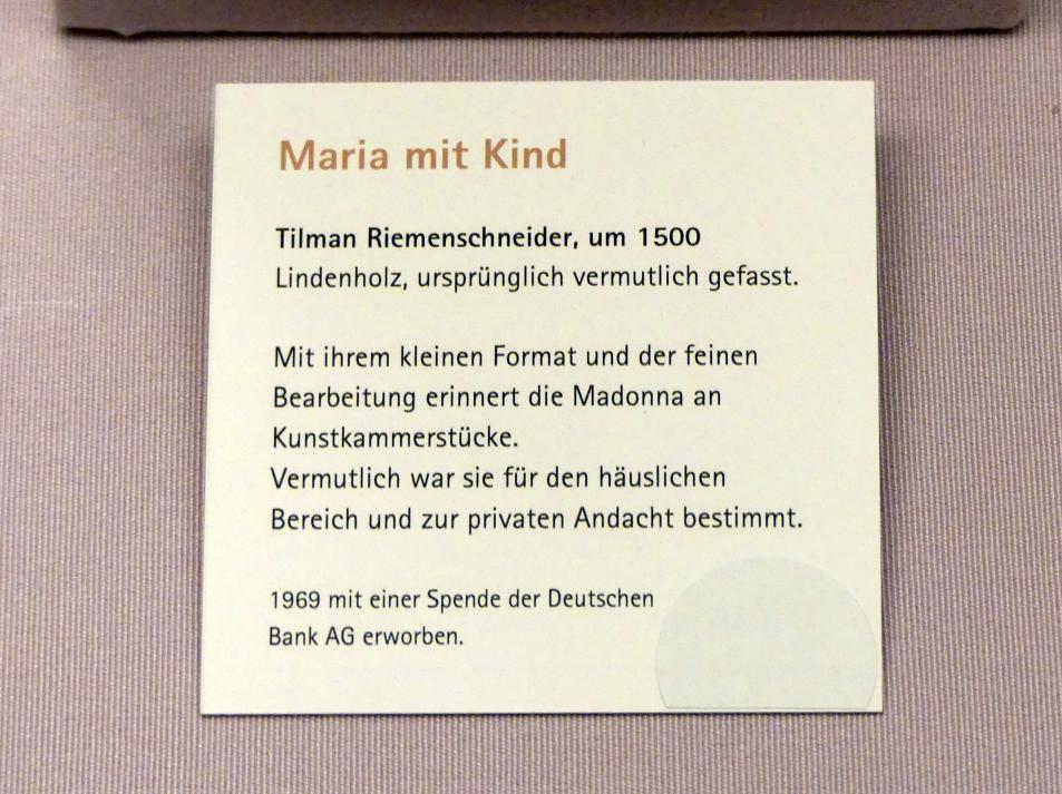 Tilman Riemenschneider: Maria mit Kind, um 1500, Bild 2/2