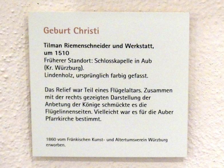 Tilman Riemenschneider: Geburt Christi, um 1510, Bild 2/2