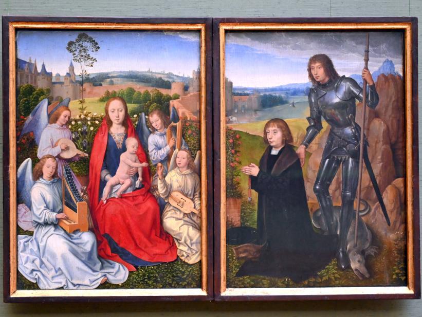 Hans Memling: Madonna im Rosenhag und Hl. Georg mit Stifter, Um 1490