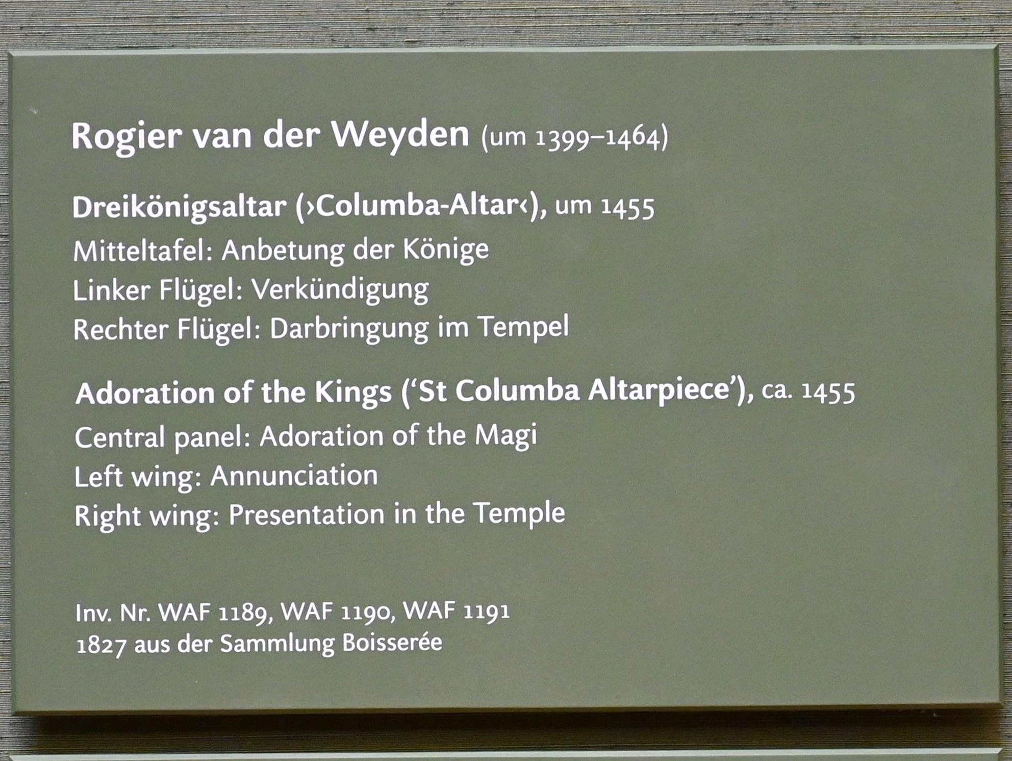 """Rogier van der Weyden: Dreikönigsaltar (""""Columba-Altar""""), um 1455, Bild 2/2"""