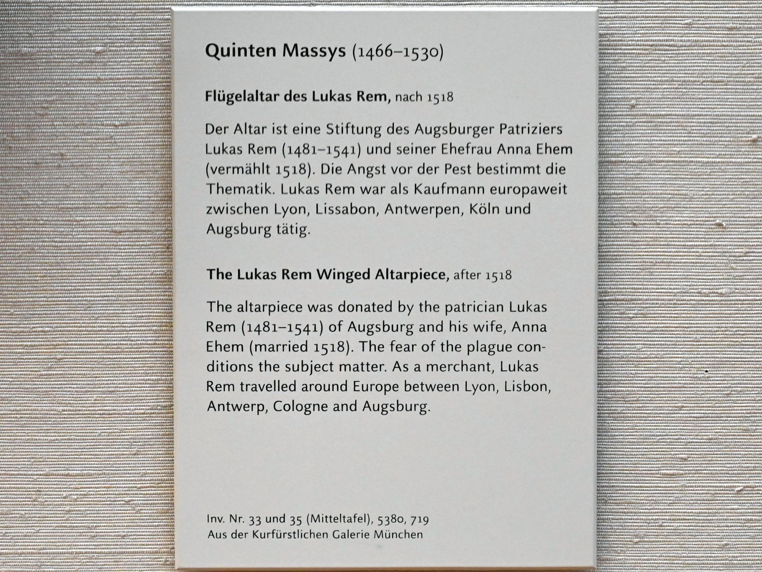 Quinten Massys: Flügelaltar des Lukas Rem, nach 1518, Bild 2/2