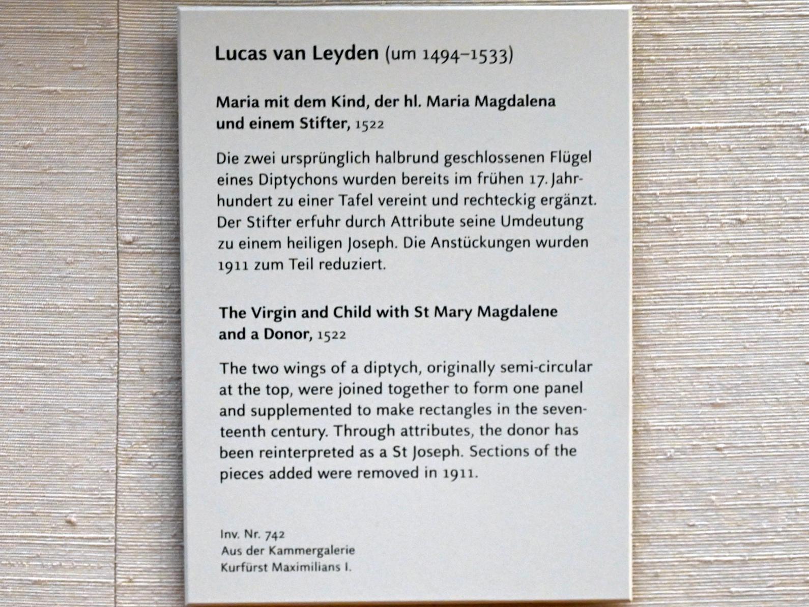 Lucas van Leyden: Maria mit dem Kind, der hl. Maria Magdalena und einem Stifter, 1522, Bild 2/2