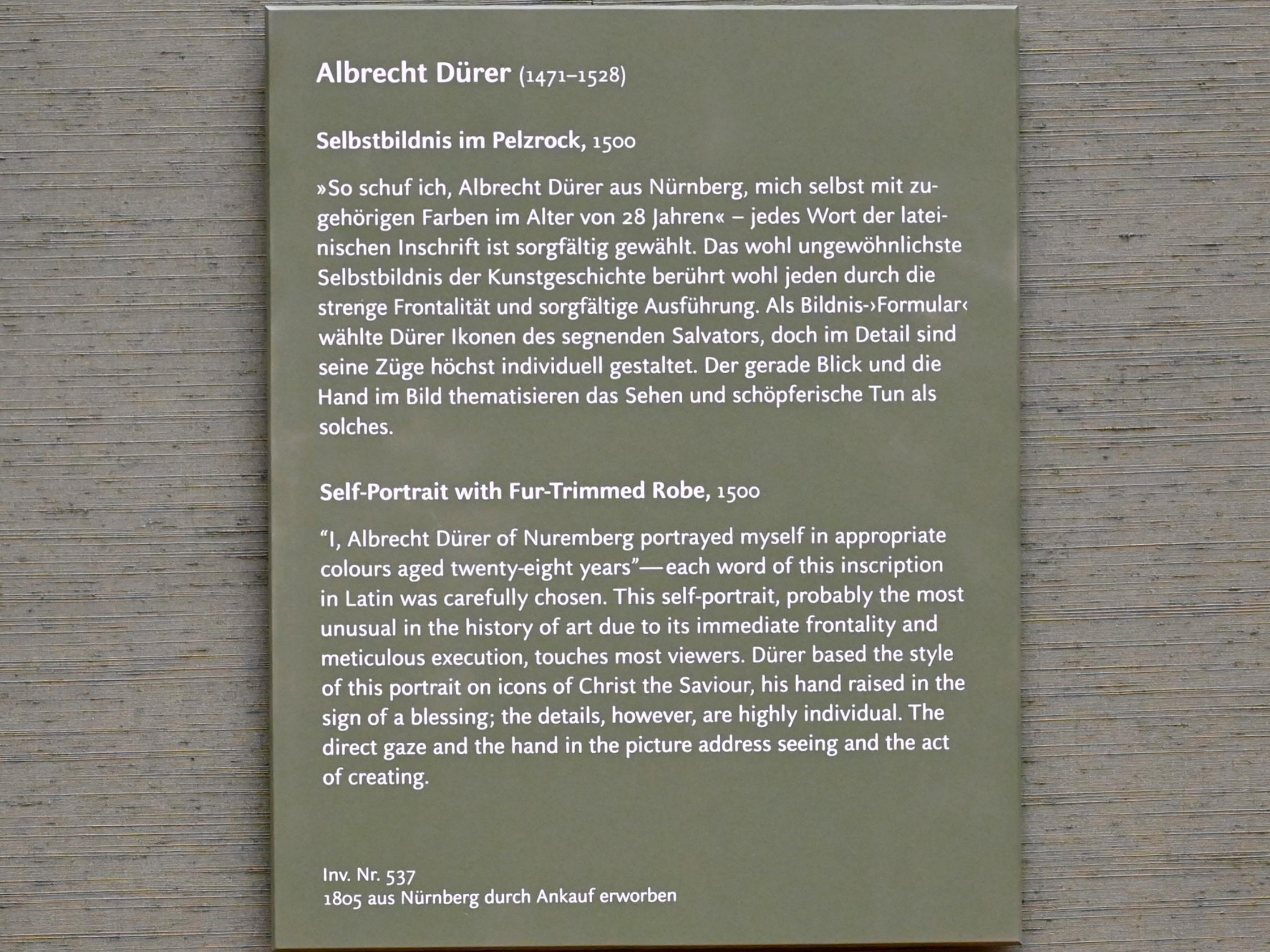 Albrecht Dürer: Selbstbildnis im Pelzrock, 1500