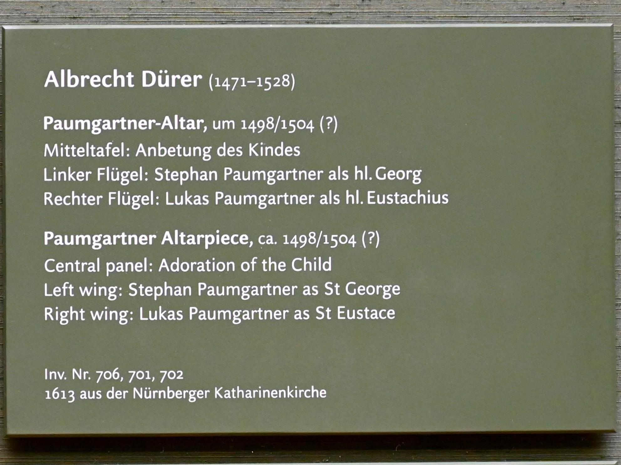 Albrecht Dürer: Paumgartner-Altar, um 1498 - 1504, Bild 2/2