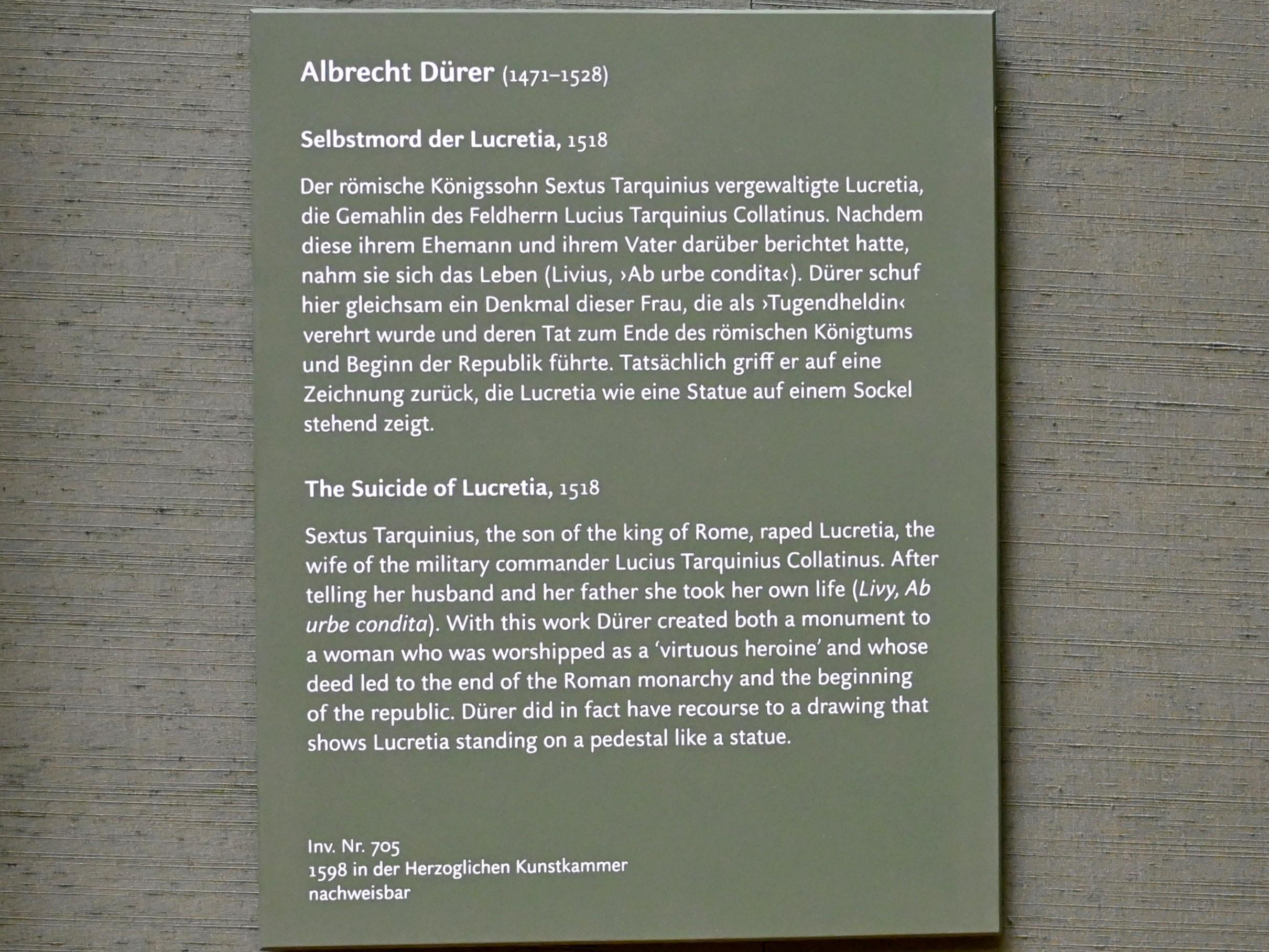 Albrecht Dürer: Selbstmord der Lucretia, 1518, Bild 2/2