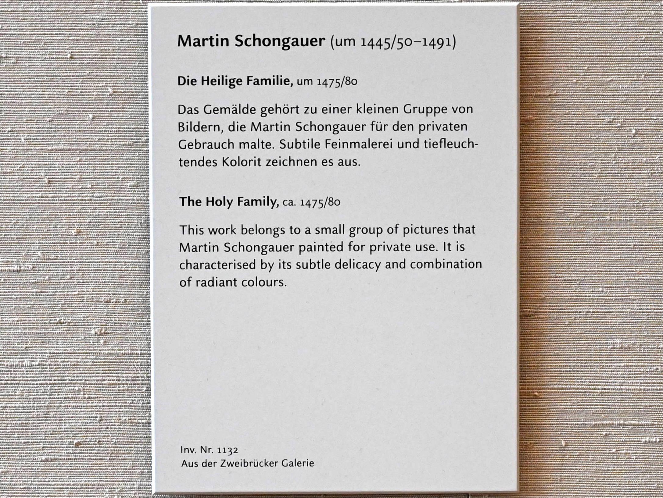 Martin Schongauer: Die Heilige Familie, um 1475 - 1480, Bild 2/2