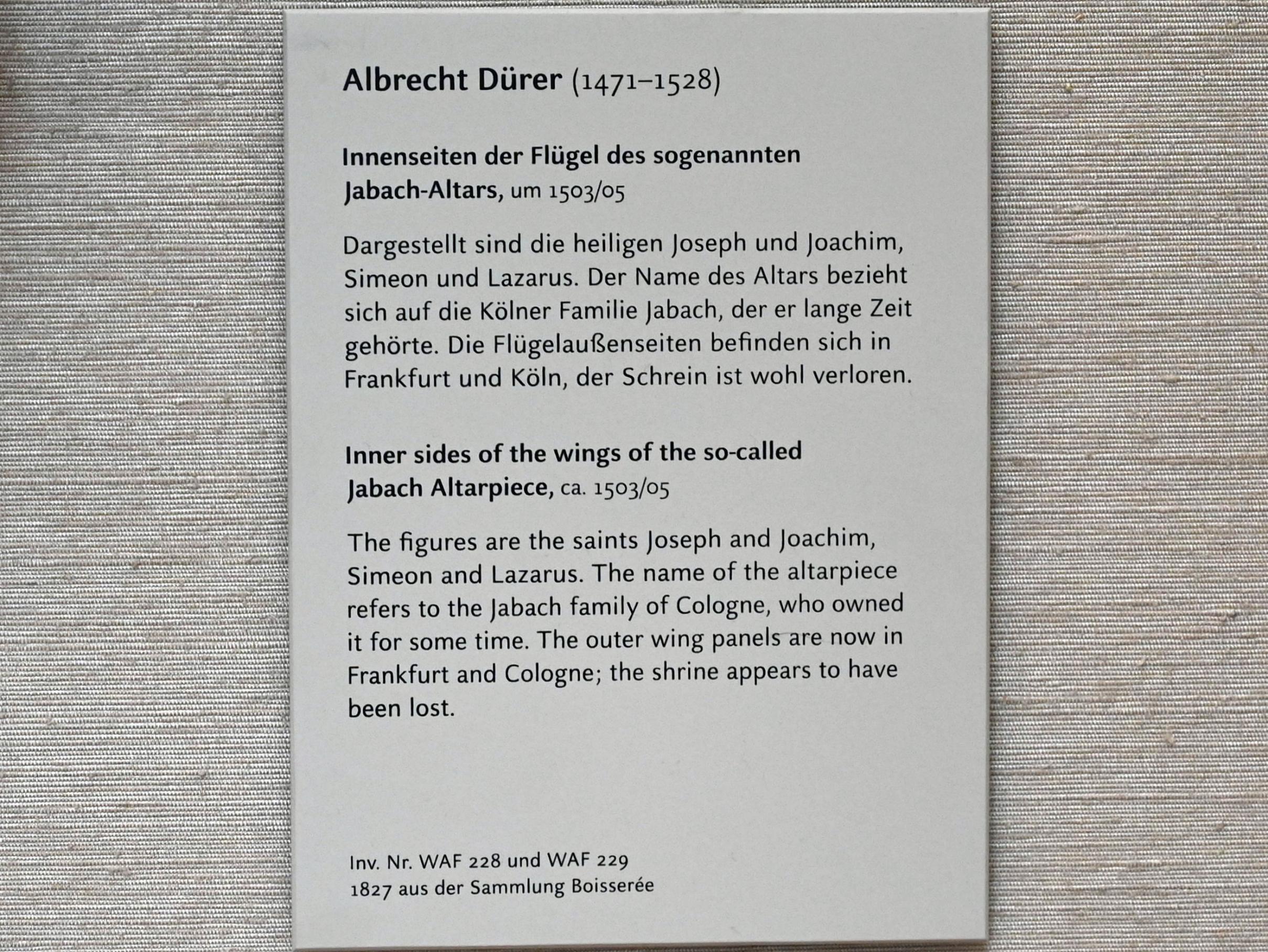 Albrecht Dürer: Innenseiten der Flügel des sogenannten Jabach-Altars, 1503 - 1505