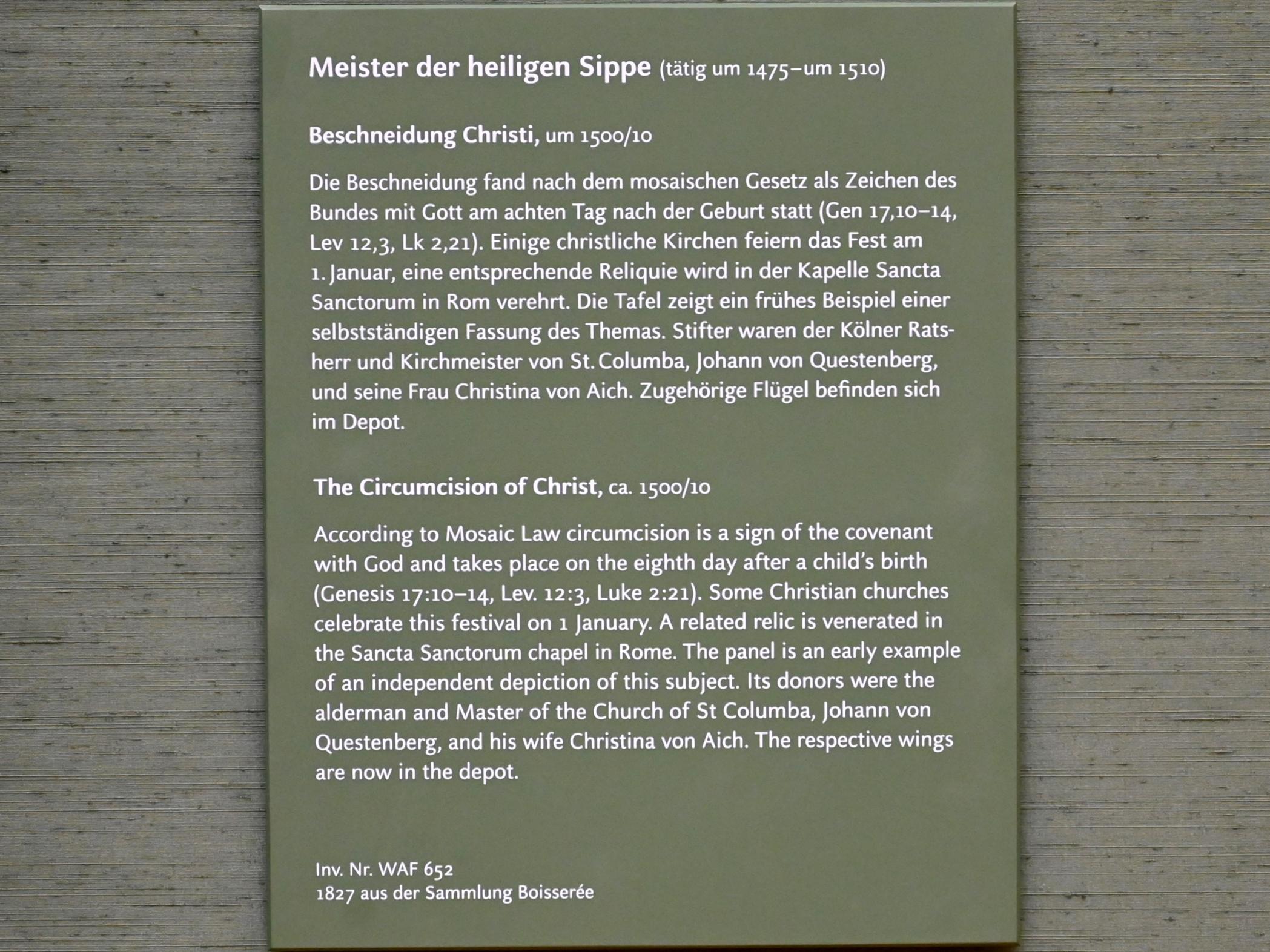 Meister der heiligen Sippe: Beschneidung Christi, Um 1500 - 1510