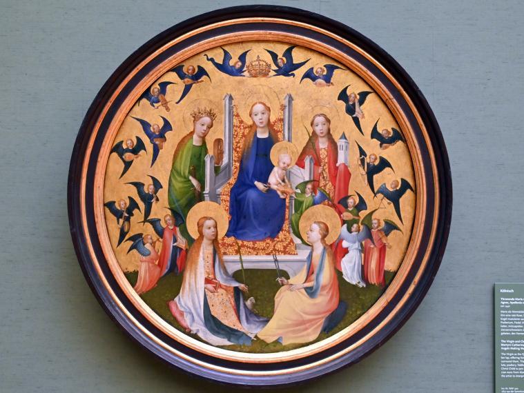 Thronende Maria mit Kind, den hll. Jungfrauen Katharina, Agnes, Apollonia und Barbara und musizierenden Engeln, Um 1440