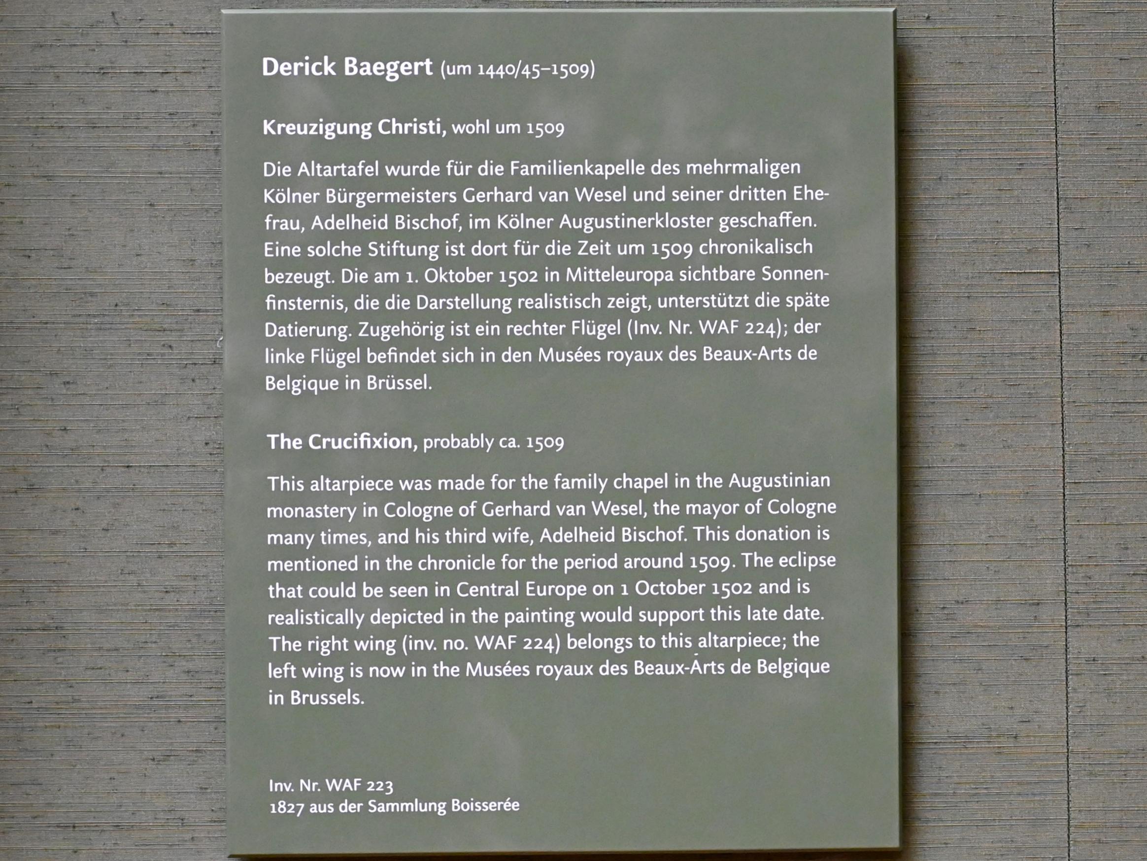 Derick Baegert: Kreuzigung Christi, Um 1509