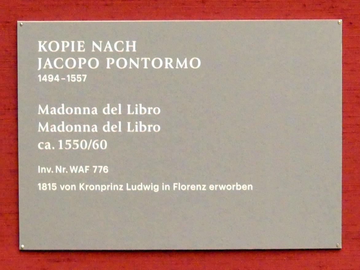 Jacopo da Pontormo (Kopie): Madonna del Libro, Um 1550 - 1560