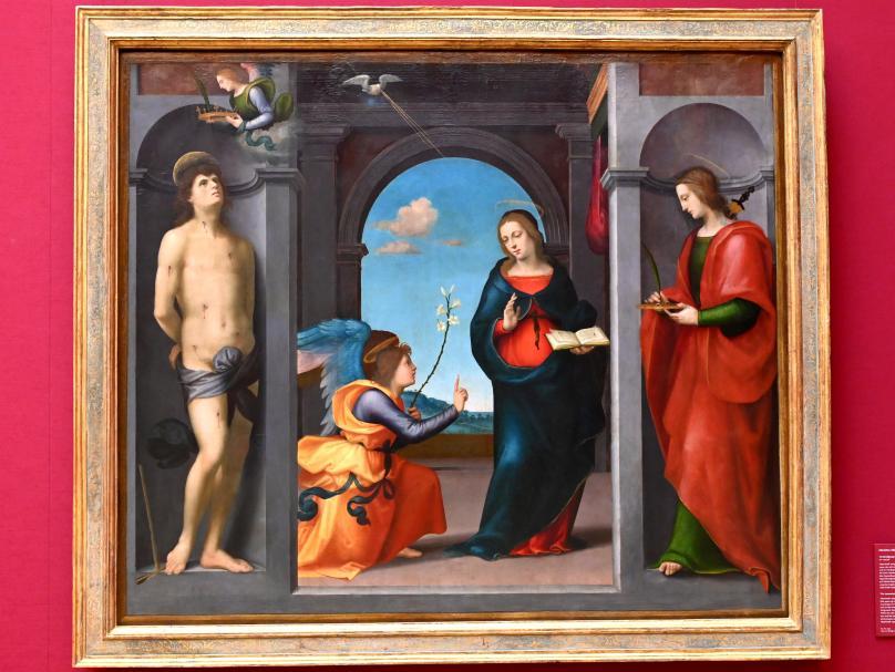 Mariotto Albertinelli: Verkündigung Mariae zwischen den hll. Sebastian und Lucia, um 1507 - 1508