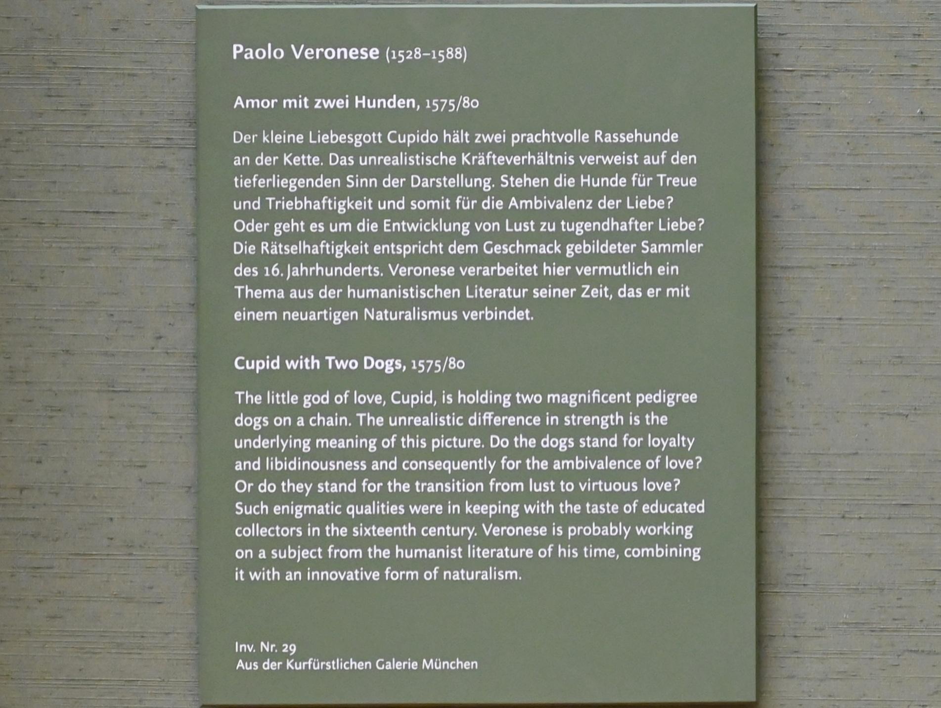 Paolo Caliari (Veronese): Amor mit zwei Hunden, um 1575 - 1580, Bild 2/2