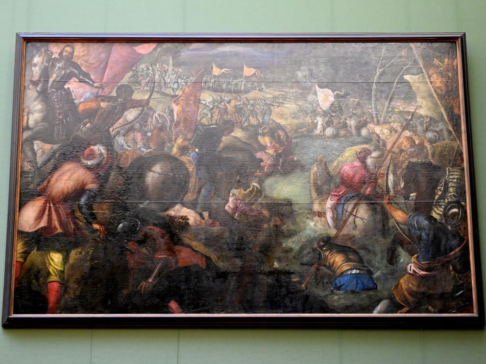 Jacopo Robusti (Tintoretto): Francesco II. Gonzaga kämpft in der Schlacht am Taro gegen Karl VIII. von Frankreich, Um 1578 - 1579