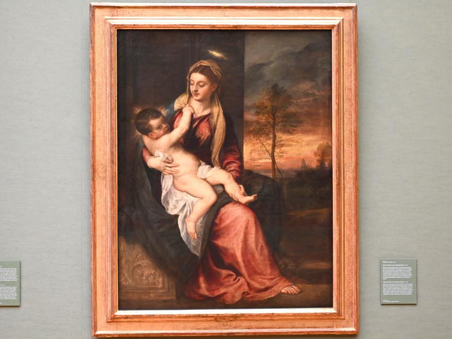 Tiziano Vecellio (Tizian): Maria mit Kind in einer Abendlandschaft, um 1560
