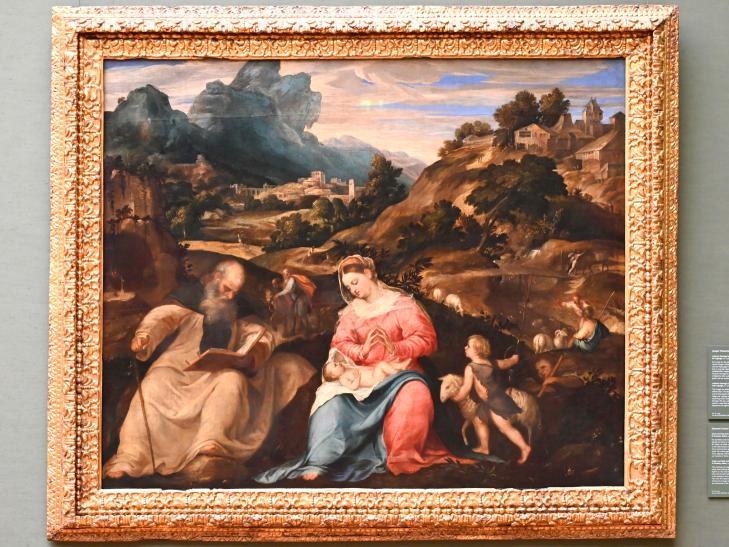 Giovanni Cariani (Giovanni Busi): Maria mit Kind, dem Johannesknaben und dem hl. Antonius Abbas, Um 1540