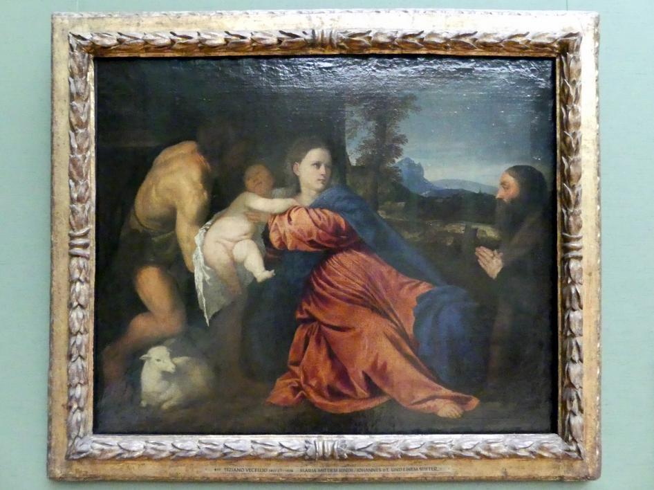 Tiziano Vecellio (Tizian): Maria mit Kind, Johannes dem Täufer und einem Stifter, um 1520