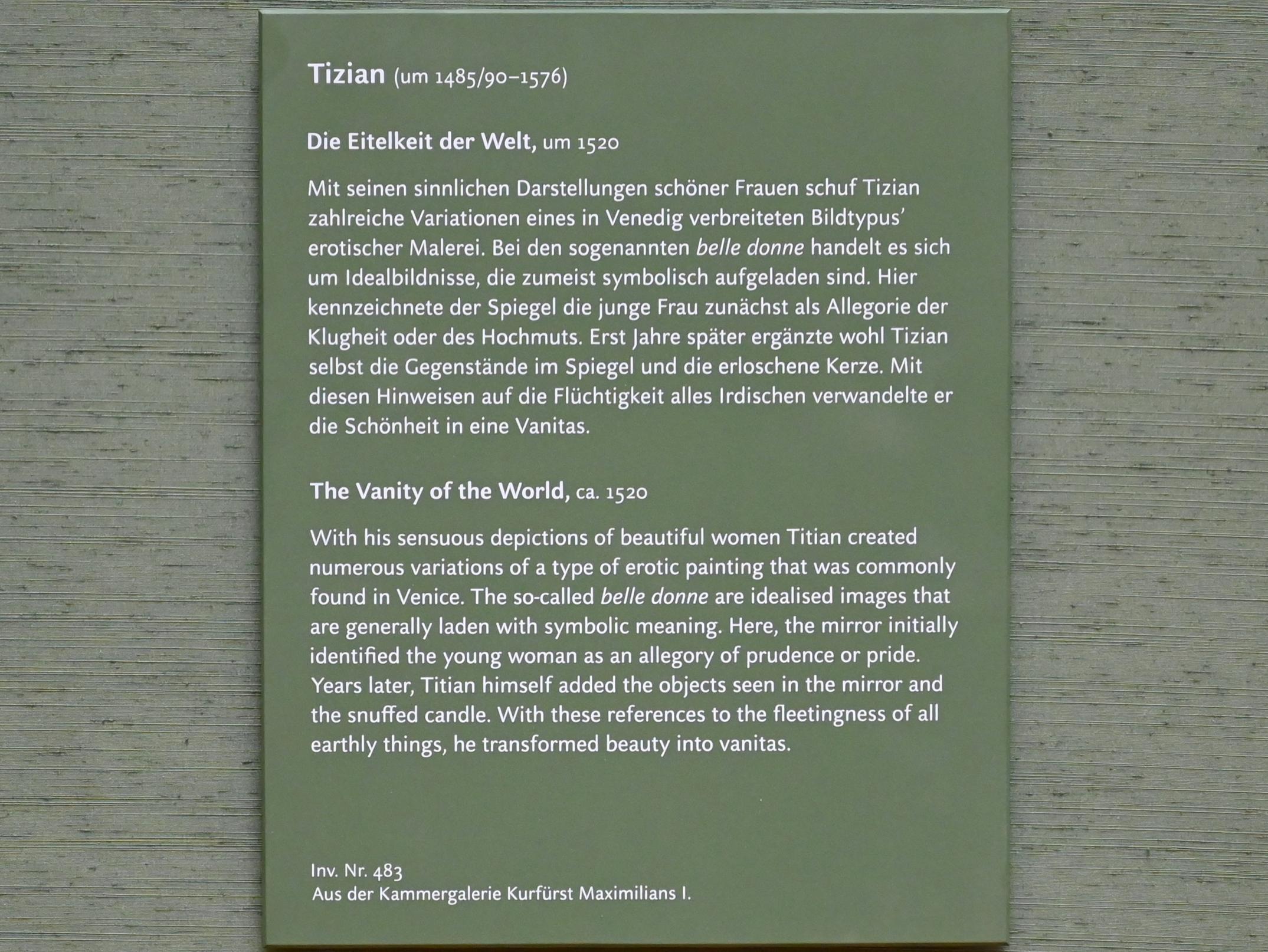 Tiziano Vecellio (Tizian): Die Eitelkeit der Welt, um 1520, Bild 2/2