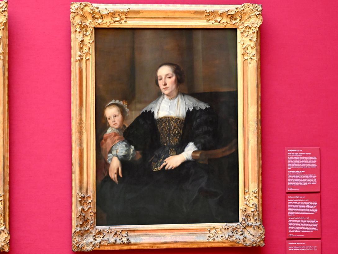 Anthonis (Anton) van Dyck: Bildnis der Anna van Thielen, Gattin des Malers Theodoor Rombouts, mit ihrer Tochter Anna Maria, Um 1631 - 1632