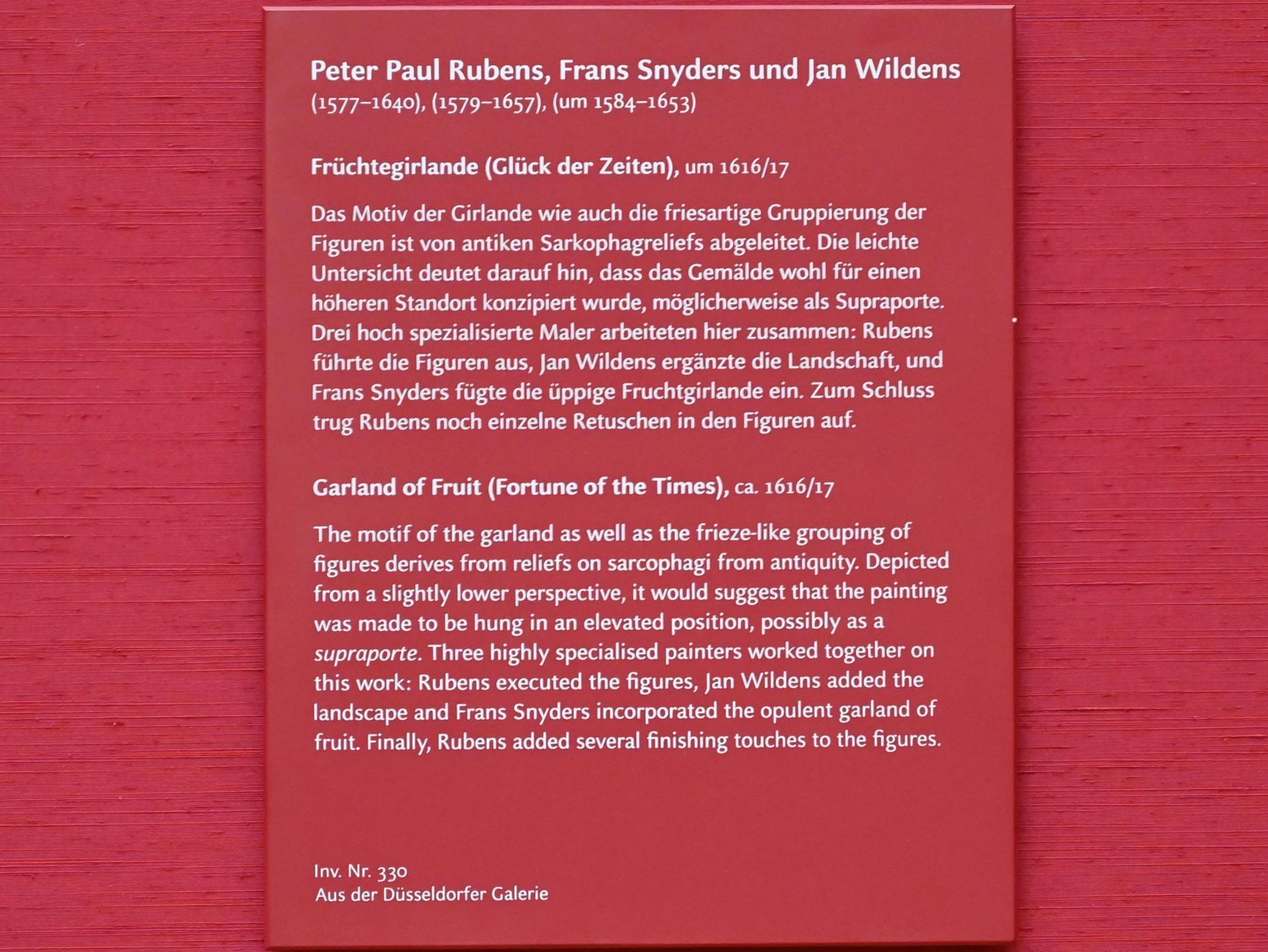 Peter Paul Rubens: Früchtegirlande, 1616 - 1617, Bild 2/2
