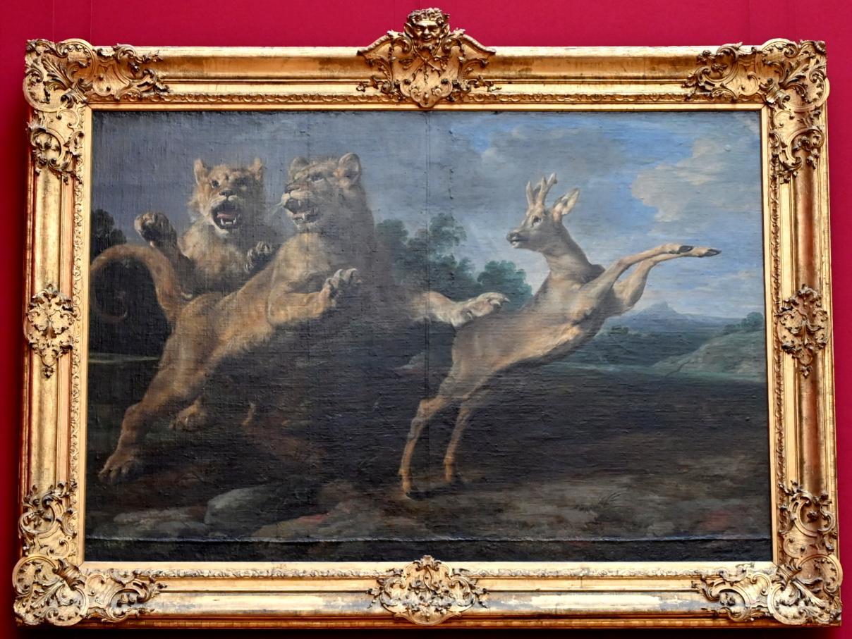 Frans Snyders: Zwei junge Löwen verfolgen einen Rehbock, Um 1620 - 1625