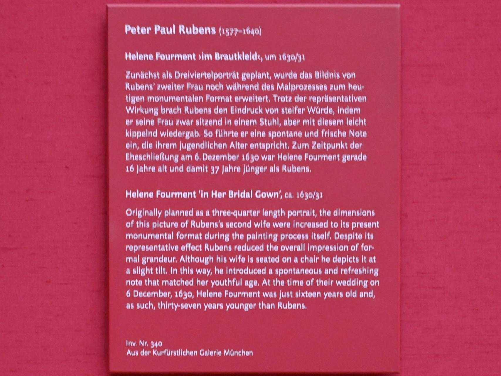 "Peter Paul Rubens: Helene Fourment ""im Brautkleid"", um 1630 - 1631, Bild 2/2"