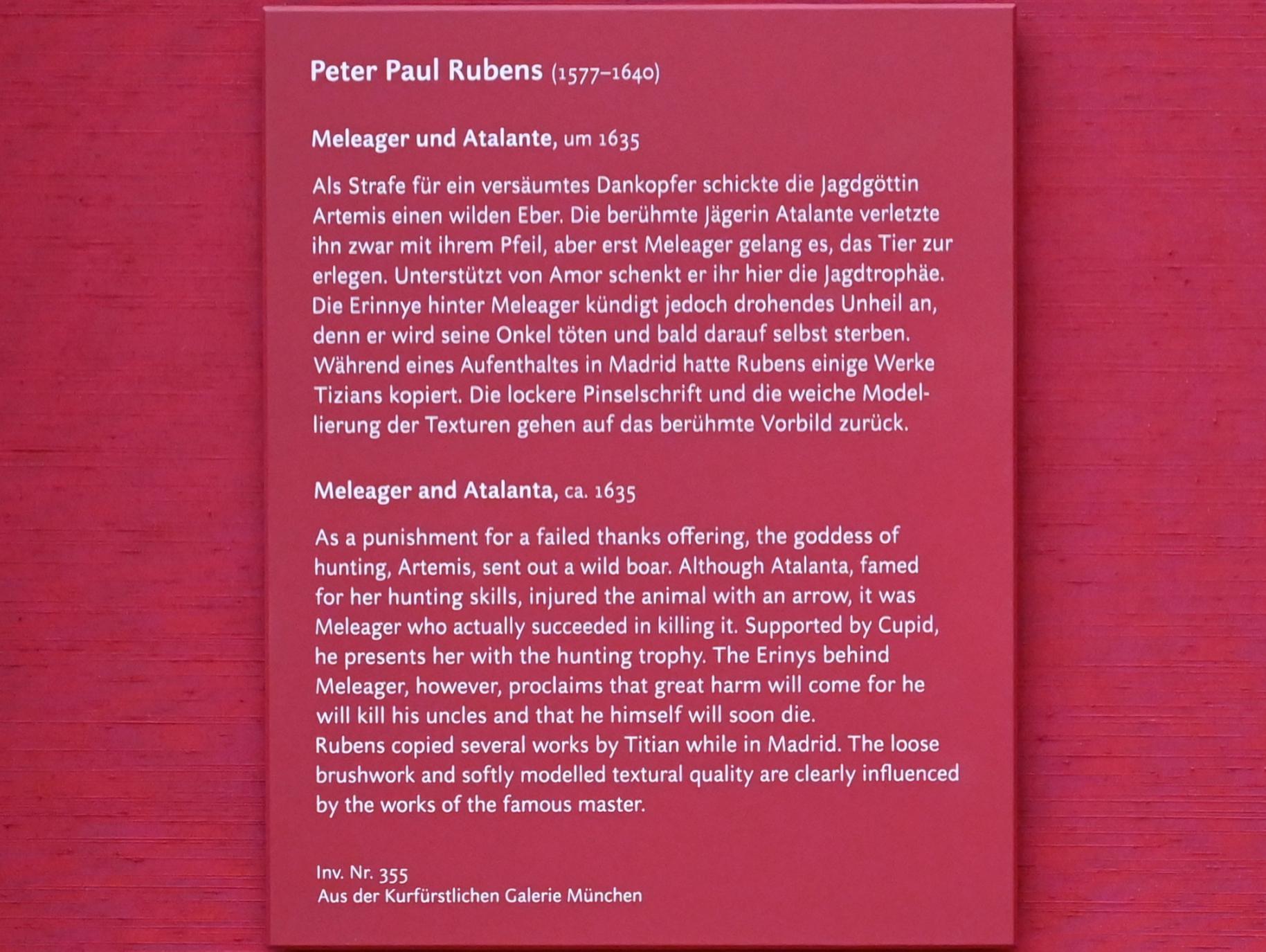 Peter Paul Rubens: Meleager und Atalante, um 1635, Bild 2/2