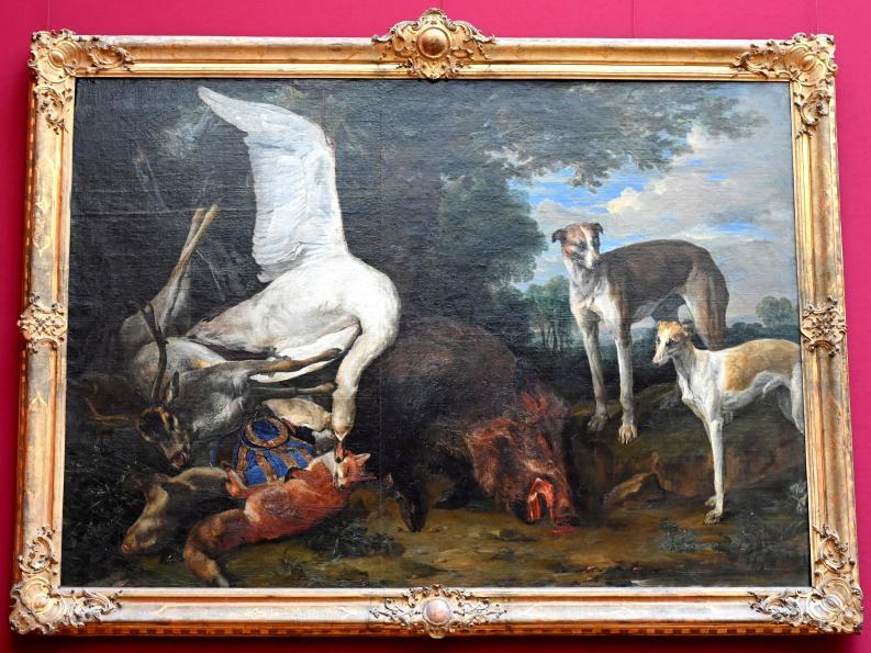 Pieter Boel: Erlegtes Wild, von zwei Hunden bewacht, Undatiert