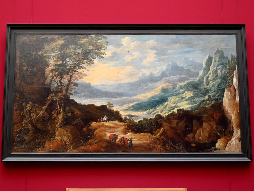Joos de Momper: Große Gebirgslandschaft mit Reisenden, 1623