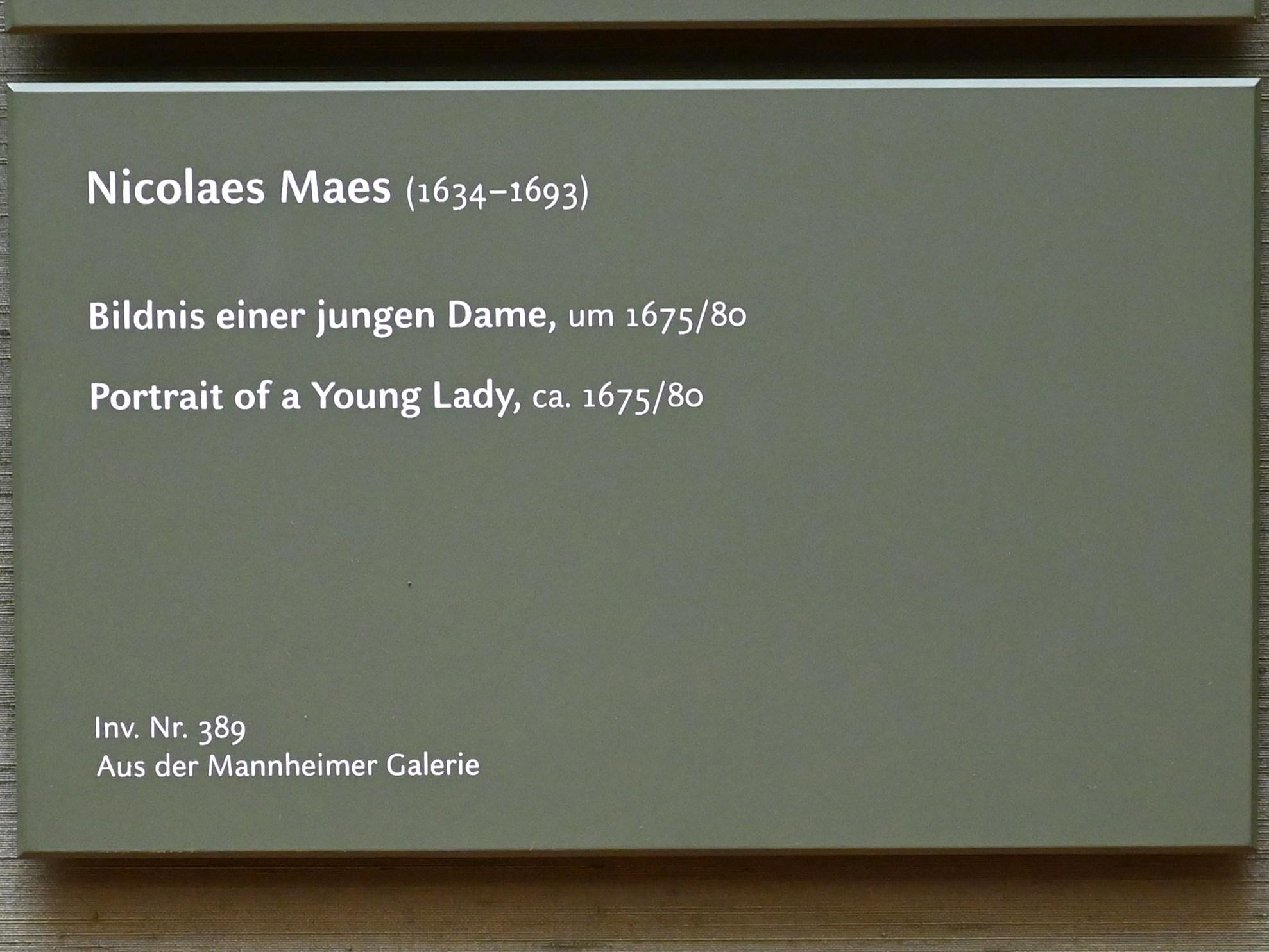 Nicolaes Maes: Bildnis einer jungen Dame, um 1675 - 1680, Bild 2/2