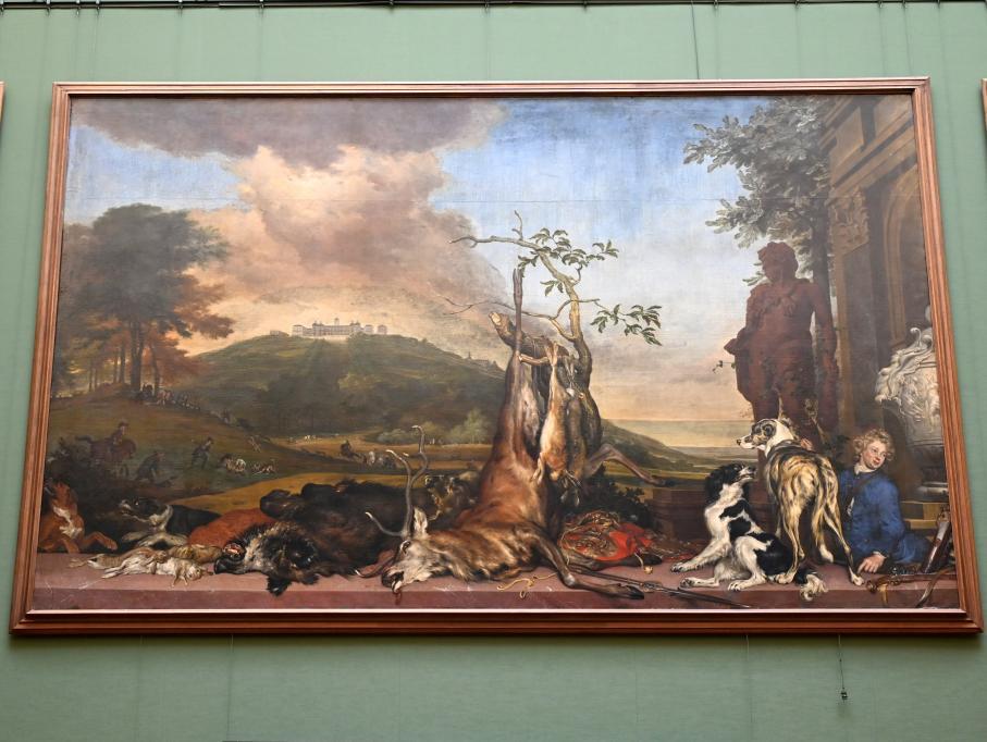 Jan Weenix: Jagdstillleben vor einer Landschaft mit Schloss Bensberg, 1712