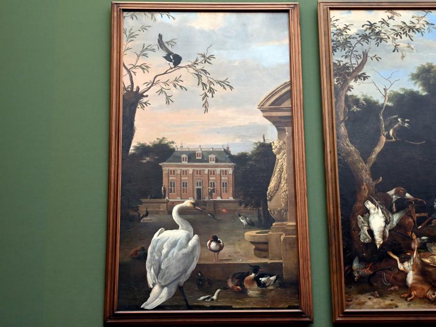 Melchior de Hondecoeter: Vogelpark mit Ansicht des Landsitzes Driemond, um 1670