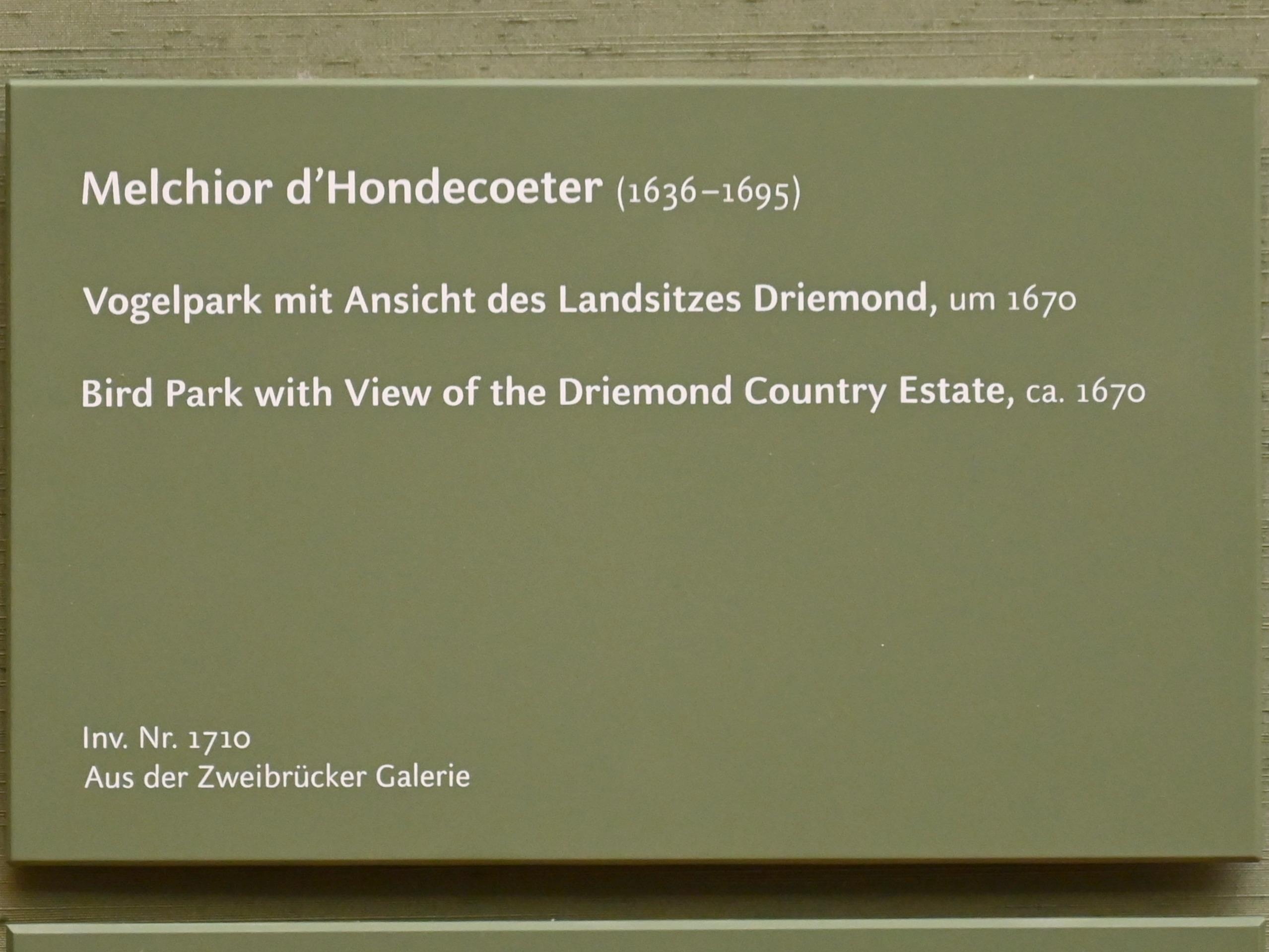 Melchior de Hondecoeter: Vogelpark mit Ansicht des Landsitzes Driemond, um 1670, Bild 2/2