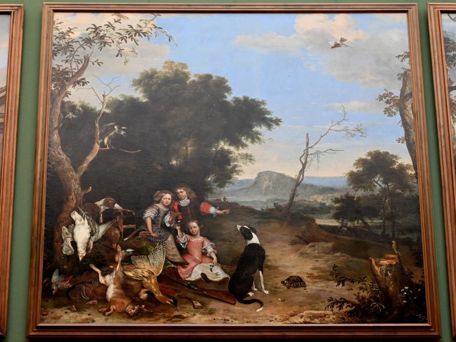 Melchior de Hondecoeter: Bildnis von drei Kindern in einer Landschaft mit Jagdbeute, um 1670