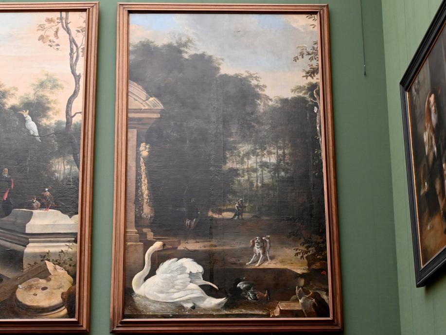 Melchior de Hondecoeter: Vogelpark mit Schwan und Hund, um 1670