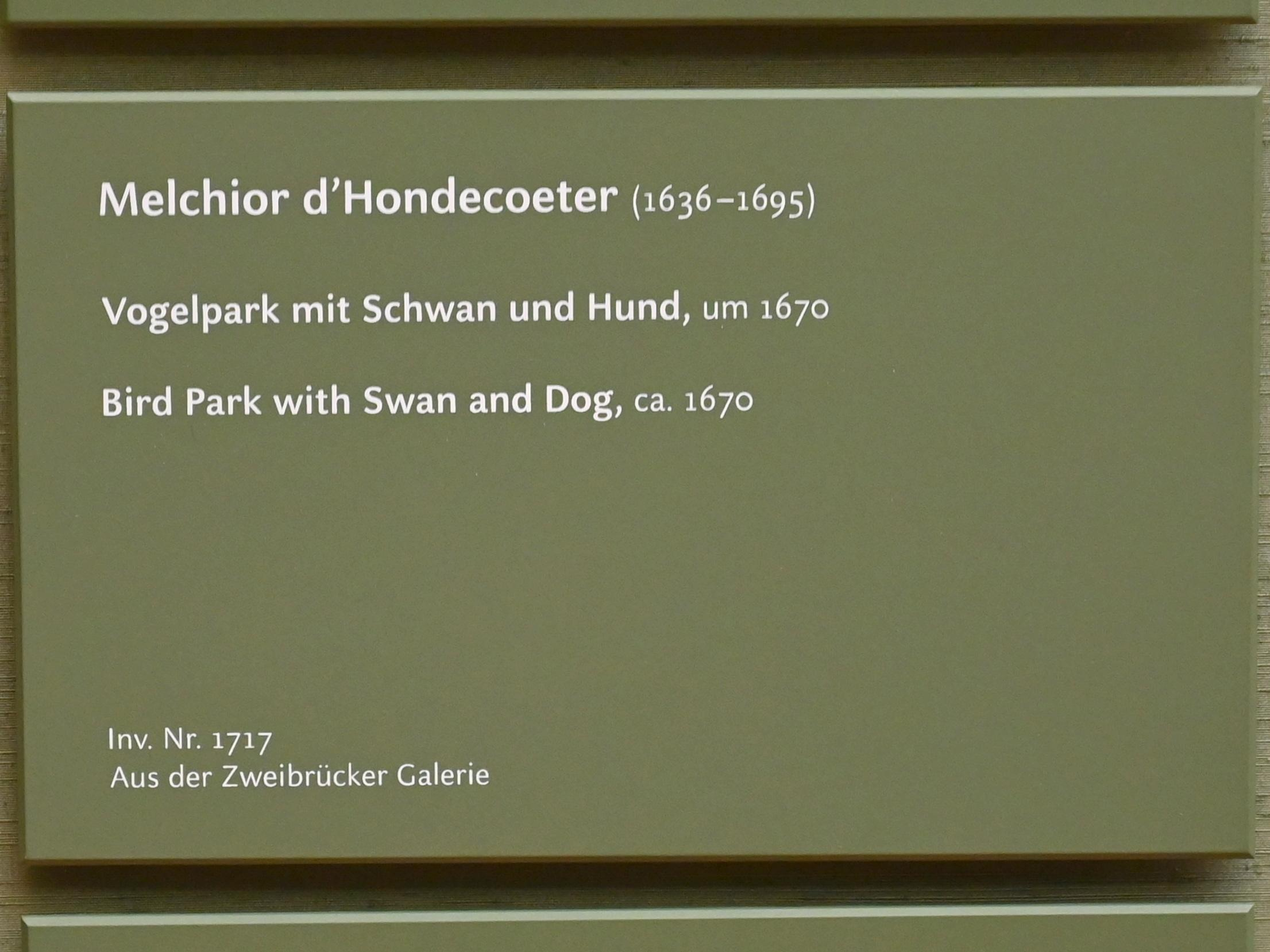 Melchior de Hondecoeter: Vogelpark mit Schwan und Hund, um 1670, Bild 2/2