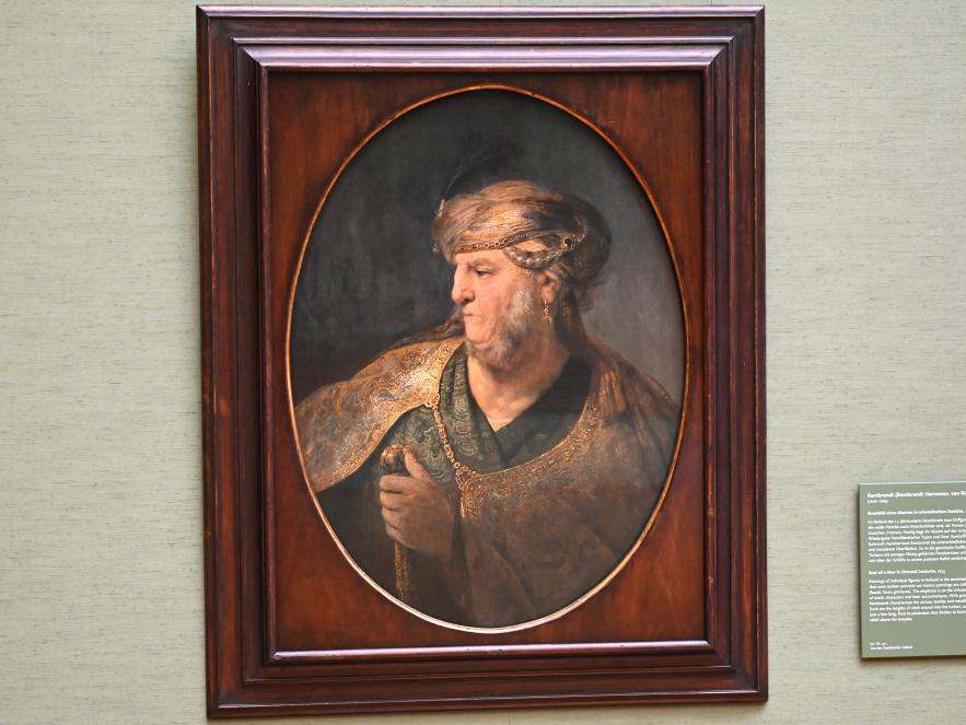 Rembrandt (Rembrandt Harmenszoon van Rijn): Brustbild eines Mannes in orientalischem Kostüm, 1633