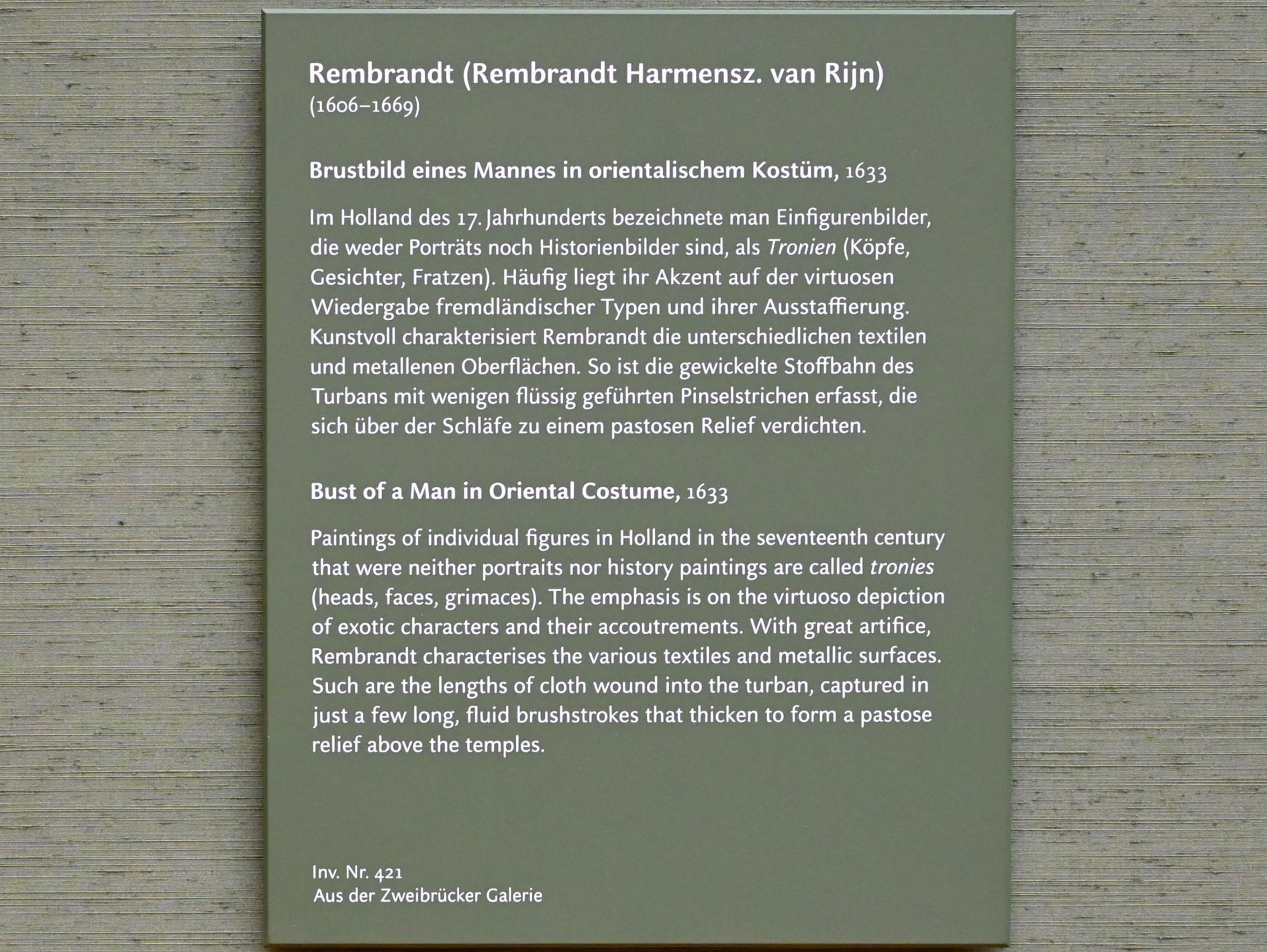 Rembrandt (Rembrandt Harmenszoon van Rijn): Brustbild eines Mannes in orientalischem Kostüm, 1633, Bild 2/2