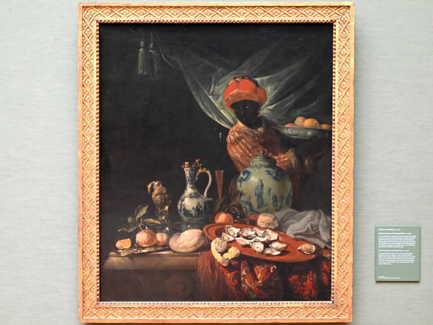 Juriaen van Streeck: Stillleben mit Mohr und Porzellangefäßen, Um 1670 - 1680