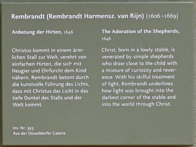 """Rembrandt (Rembrandt Harmenszoon van Rijn): Anbetung der Hirten aus dem """"Passionszyklus"""", 1646, Bild 2/3"""