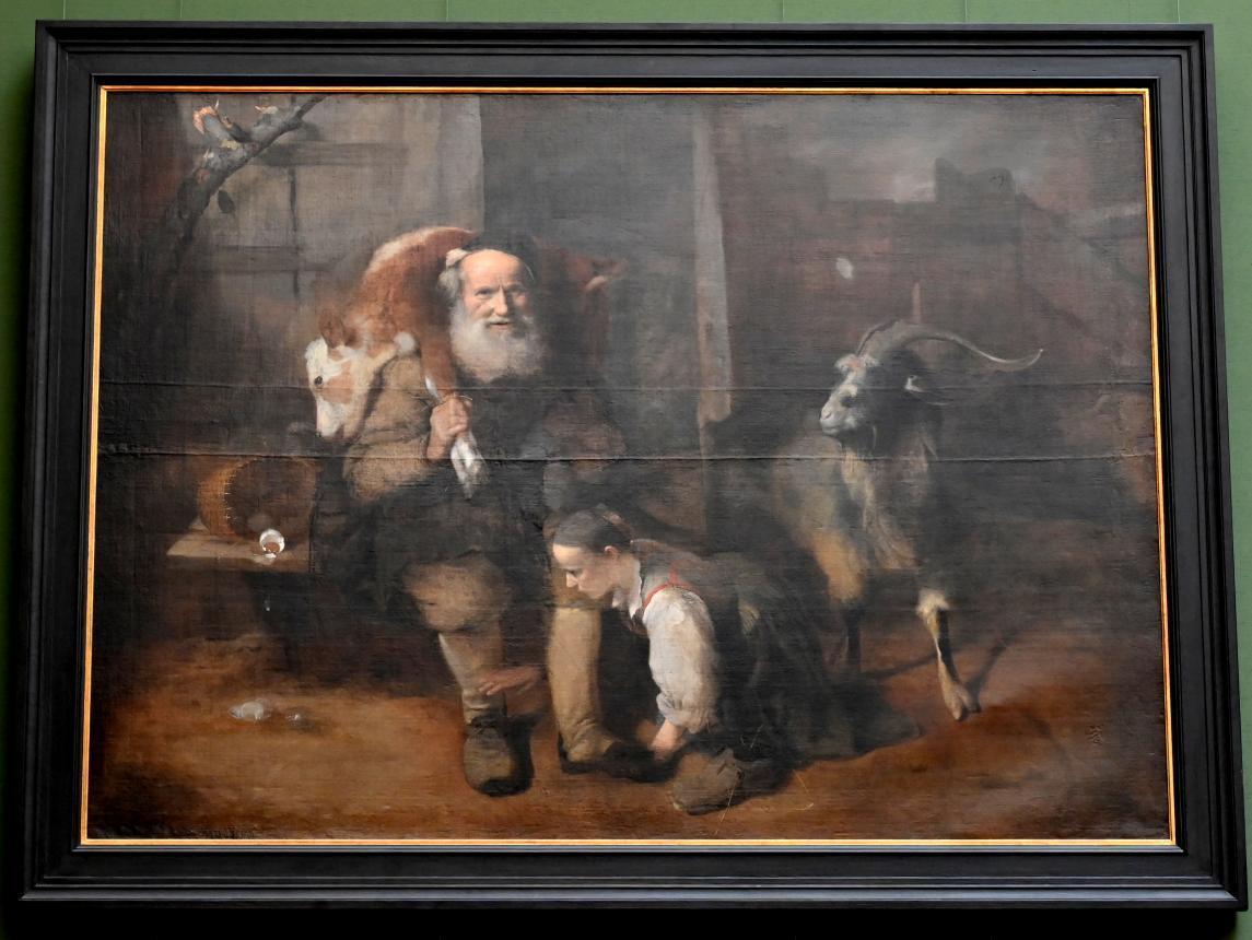Christopher Paudiß: Alter Bauer mit geschultertem Kalb, junger Frau und Ziegenbock, Um 1663 - 1664