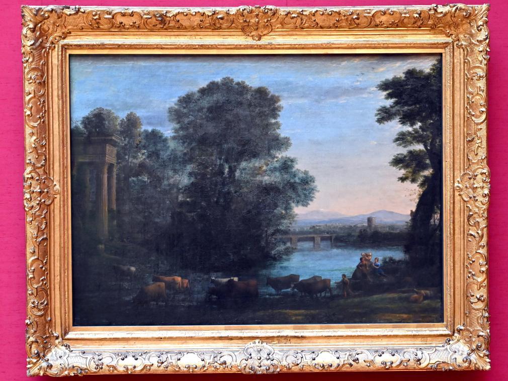 Claude Lorrain (Claude Gellée): Idyllische Landschaft bei untergehender Sonne, 1670