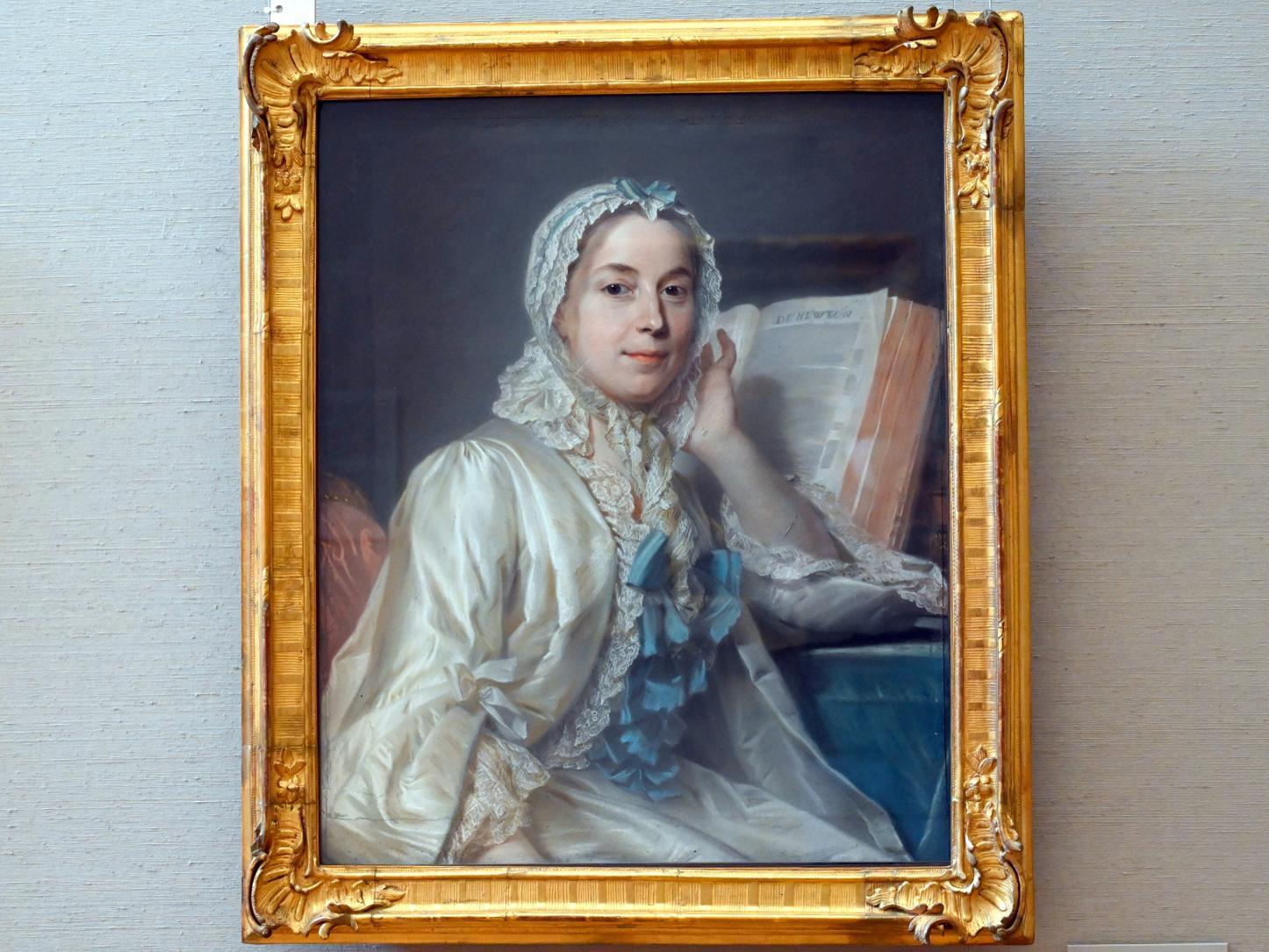 Maurice Quentin de La Tour: Mademoiselle Ferrand meditiert über Newton, Um 1752
