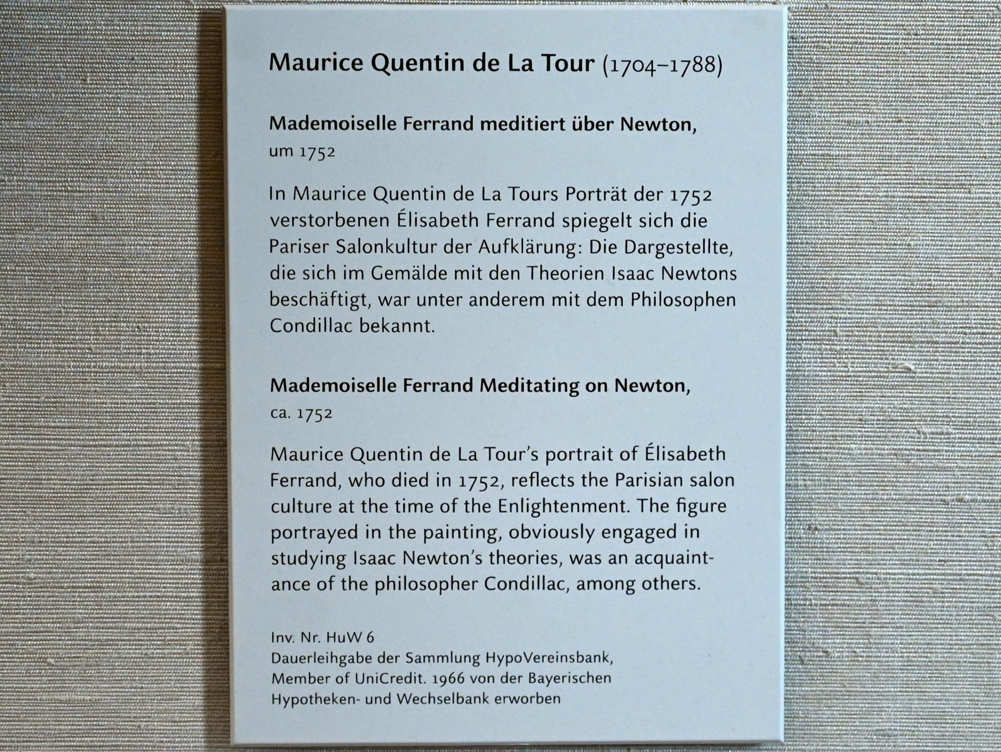 Maurice Quentin de La Tour: Mademoiselle Ferrand meditiert über Newton, um 1752, Bild 2/2