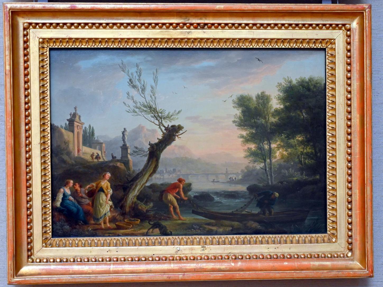 Claude Joseph Vernet: Flussfischer am Abend, Um 1755