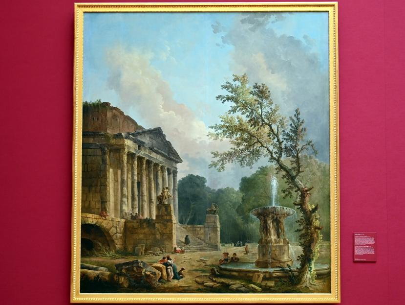 Hubert Robert: Landschaft mit römischer Tempelruine, Um 1773