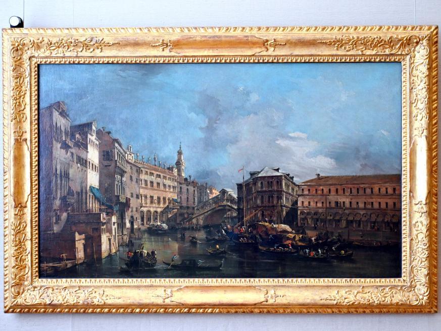 Francesco Guardi: Blick auf den Rialto und den Palazzo dei Camerlenghi, Um 1760
