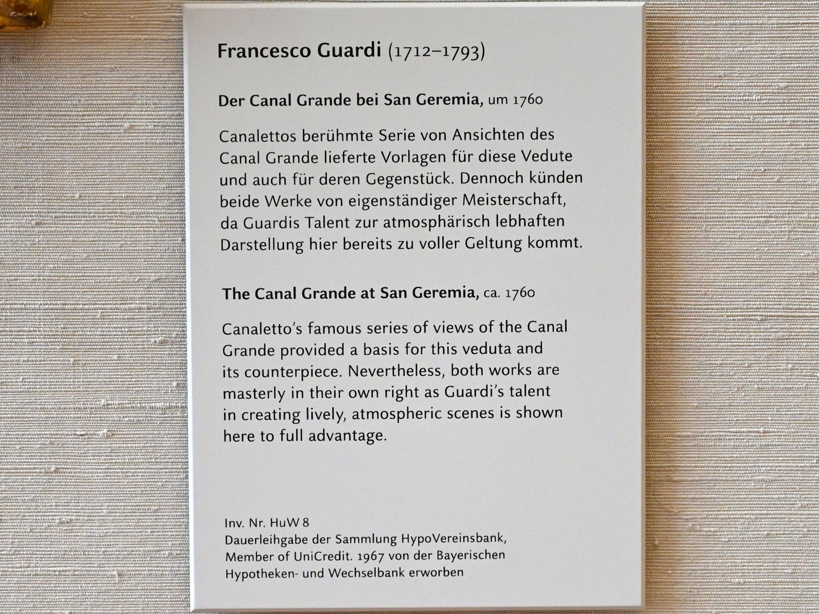 Francesco Guardi: Der Canal Grande bei San Geremia, Um 1760