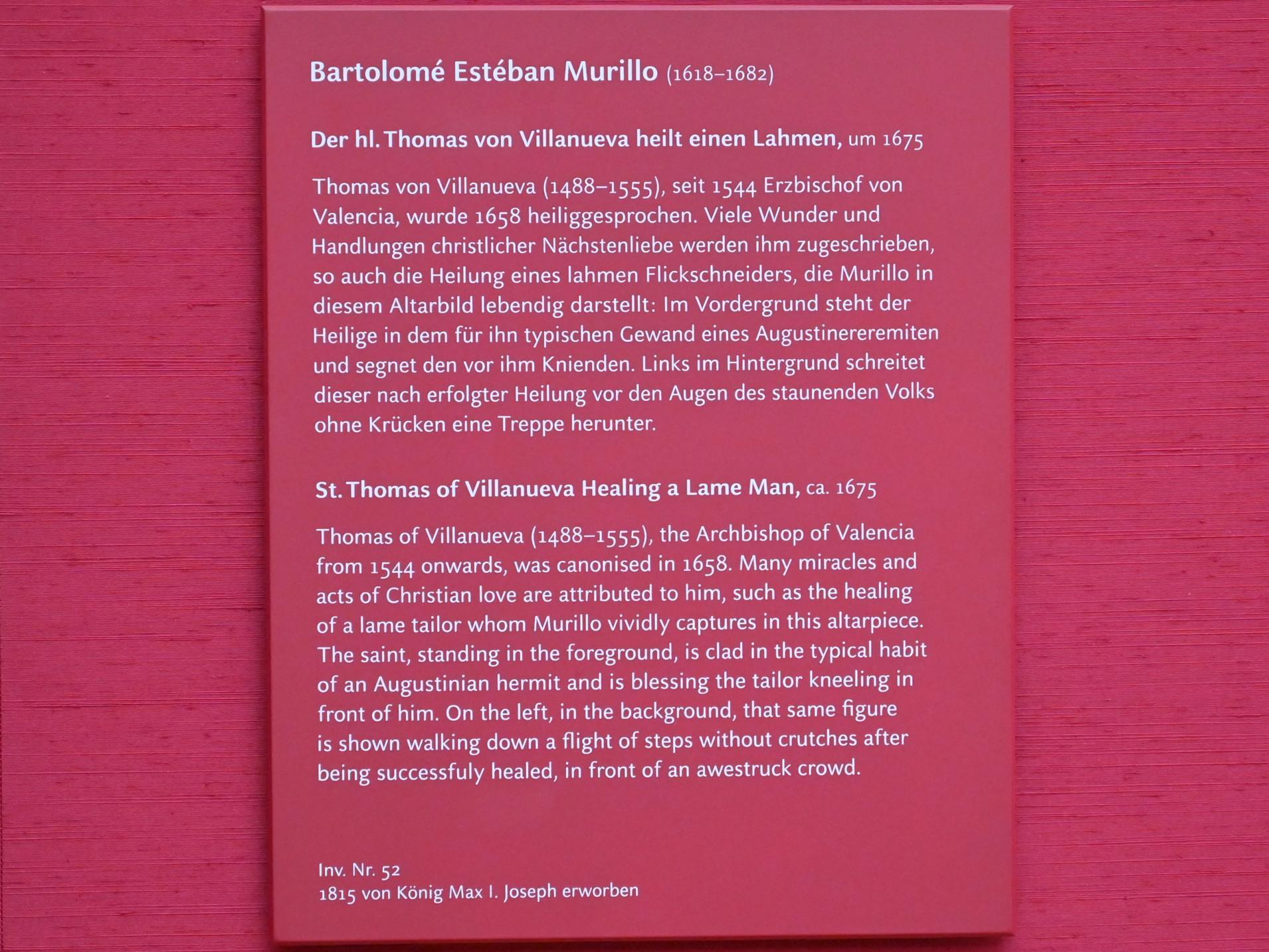 Bartolomé Esteban Murillo: Der hl. Thomas von Villanueva heilt einen Lahmen, um 1675, Bild 2/2