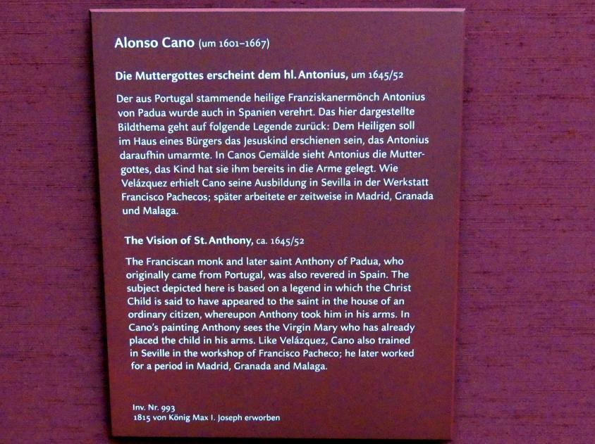 Alonso Cano: Die Muttergottes erscheint dem hl. Antonius, um 1645 - 1652, Bild 2/2